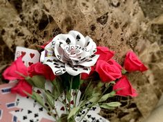 Playing Card Flower, Paper Flower , Poker Party, Vegas, Poker Paper, Unique Flower, Valentines Flowers, Casino Decorations, Fun Gift, Rose by ThePaintedPetaler on Etsy https://www.etsy.com/listing/262064032/playing-card-flower-paper-flower-poker