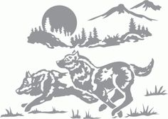 Glass etching stencil of Wolf Running through Mountain Landscape. In category: Animals, Trees, Wolf Wolf Silhouette, Silhouette America, Silhouette Files, Silhouette Cameo, Kirigami, Paper Cutting, Glass Etching Stencils, Pyrography Patterns, Glass Engraving