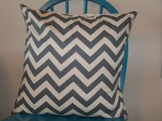 20x20 Gray and Natural Chevron Pillow Cover by ThePlumPeony, via Etsy.