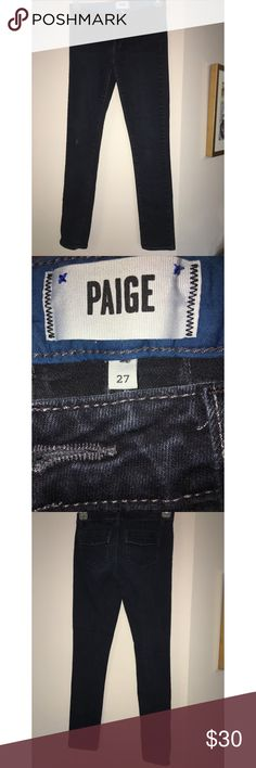 ⬇️PAIGE Santa Monica Skinny High Waist Dark Indigo These designer jeans almost work like spanx! Comfortable, yet very flattering in thigh area. Deep indigo with small distressed rip on knee. No muffin top with these jeans! One of the most quality brands of designer jeans, Paige. Great with a wedge, boots, stylish sneakers, flats, or whatever you may please! Hands down one of my favorite pairs of jeans owned! PAIGE Jeans Skinny
