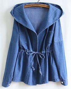 Blue Long Sleeve Hooded Belt Denim Coat - Fashion Clothing, Latest Street Fashion At Abaday.com