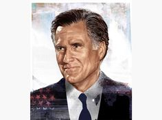 HelloVon Studio www.hellovon.com Leading portrait illustrator. Mitt Romney. Cover Illustration, FT Mag, USA, contemporary, modern, motion, portrait, painting, ink, watercolour, celebrity, icon, hero, iconic
