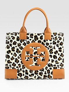 Tory Burch - Ella Leopard-Print Canvas & Leather Tote - Saks.com