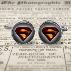 Superman Cuff Links, Man of Steel Cufflinks, Superman Jewelry, Superhero Cufflinks Gift for Men, Accessories for Men
