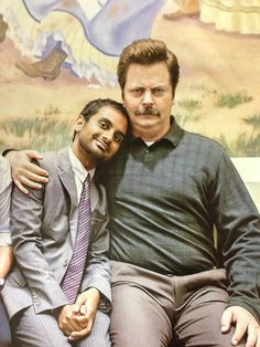 Parks and Recreation. Two of my favorite men on the show!! Aziz ansari and Nick Offerman.