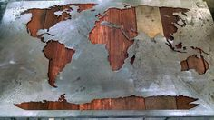 Map of the World Reverse Cut Mural Map 25.25 by LegendaryFineArt