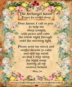 Archangel Azrael Prayer - The Prayer for restful sleep - from 'Embracing our Angels' by Mary Jac