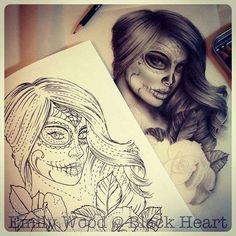 Niesamowity projekt tatuażu Santa Muerte