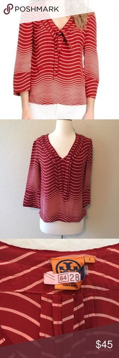 {Tory Burch} Pink Red Striped Silk Blouse Beautiful blouse. 100% silk. Bust measures 18.5 inches lying flat (approx 37). Length from shoulder to hem about 23 inches. Size 2. Pet and smoke free home. Slightly rounded hem in the back for extra flattering look! No trades please. Bundle for discount 😘 Tory Burch Tops Blouses