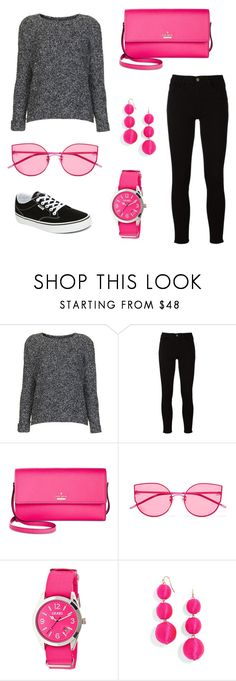 """""""Pink day on the town"""" by mad-fred ❤ liked on Polyvore featuring Topshop, Frame, Kate Spade, Gentle Monster, Crayo, BaubleBar and Vans"""