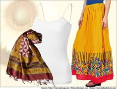 Long yellow #skirt with a broad red border is for an #ethnic look.