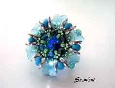 Ring with 6744 swarovki flower pendant  by Monika Szatmari