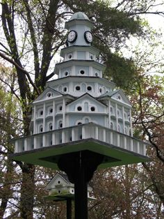 purple martin house - probably a newer version based on original design by J Warren Jacobs of Waynesboro PA