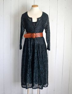 Lace Maxi Dress Early 90s Black Lace Stevie Nicks Style Long Sleeve Sheer Hippie Boho Dress Medium