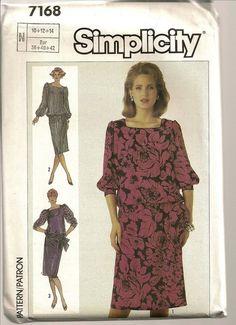 Simplicity Sewing Pattern 7168 Blouson Waist Dress Easy Size 10-14 Tie Waist #Simplicity