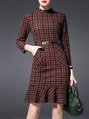 Pockets Check Pattern Mini Dress Check out our Collection of Belts. Simple Dresses, Beautiful Dresses, Casual Dresses, Fashion Dresses, Dresses For Work, Short Dresses, Mode Statements, Check Dress, Fashion Clothes