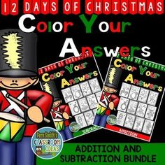 #Christmas Math: Christmas Fun! Twelve Days of Christmas Addition and Subtraction Facts Bundle - Color Your Answers for Christmas! TWENTY-FOUR No Prep Christmas Math Printables and TWENTY-FOUR Answer Keys that can be used for your math center, small group, RTI pull out, seat work or homework for Christmas! Perfect for Christmas Math time to help with the countdown to Christmas in your classroom! #TpT #FernSmithsClassroomIdeas $paid