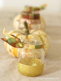 diy glittered jars | Fall table decor | Tutorial | todayscreativeblog.net