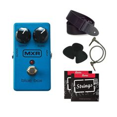 MXR M103 Blue Box Octave Fuzz Distortion Pedal Bundle Pack, comes with strings, cable, strap, and picks! | Musical Supply Direct