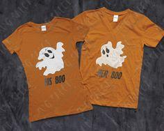 Halloween His Boo / Her Boo Ghost Custom DIY Iron On Vinyl Men's and Women's…