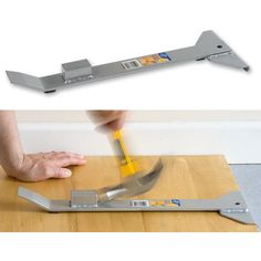 At the opposite end to the head is a pry bar which can be used to lever wayward boards into place. Woodshop Tools, Clamp Tool, Wood Laminate Flooring, Tools Hardware, Wood Tools, Home Repair, Wood Turning, Wood Furniture, Cabin Homes