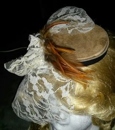 Suede  leather Pill box hat fascinator with lace  feathers Etsy.com/shop/NemesiasCreations
