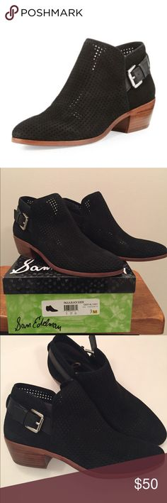 Sam Edelman Paula Chelsea Bootie Paula is a Perforated Ankle Bootie. Comes new in box. Perfect for the fall. Stylish with folded jeans.  Special Details: Wooden, low, block Heel, Perforated Detail Closure: Buckle Toe: Closed Toe Heel Height: 1.75 inches Material: Kid Suede Leather Insole: Synthetic. Sam Edelman Shoes Ankle Boots & Booties