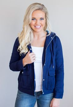 """Spring is for jackets and light layered styles, so don't miss out on this beauty! This jacket features a lightweight material, a trendy style, and front pockets. The fit on this babe is very true to size and the jacket is fully lined. This darling is perfect for those cool spring days or summer nights. Pair with your favorite skinnies and peep toe booties for a fresh spring style. Shell: 100% CottonLining: 65% Cotton, 35% Polyester Model is 5'7"""" size 6 in a small.    Measurements Len..."""