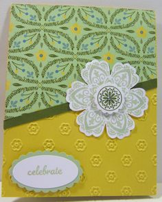 """Mixed Bunch Stamp Set Express Yourself Hostess Stamp Set Large Oval Punch 7/8"""" Scallop Circle Punch Extra Large Scallop Oval P7nch 1"""" Circle Punch Rhinestones Dimensionals Daffodil Delight Card Stock Whisper White Card Stock Mossey Meadow Card Stock All Abloom DSP Pistachio Pudding Ink Mossey Meadow Ink"""