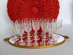 Vintage Sherry Glasses, Set of 12 Cut Glass Stemware, Barware, Port Glasses, Liqueur Glass, Hostess Gift, Cordial Glassware, Miniatures by ShaginyAndTil on Etsy