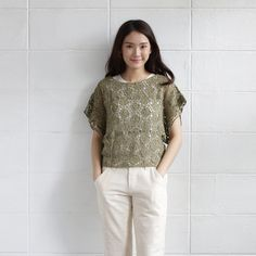 Short Sleev Over Size Tops Lace Cotton Soi-Fah Green Color-www.tanbagshop.com