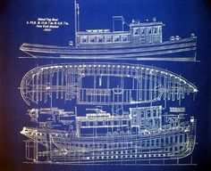 Tug boat blueprint - like an iceberg, lots of boat under the surface!