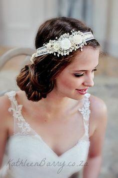 R650  Vintage Rose wedding headband  Ivory by KathleenBarryJewelry, $66.50
