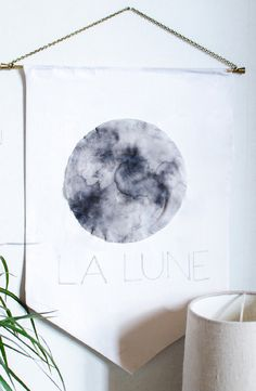 Easy And Dreamy La Lune Fabric Wall Art - Shelterness Fabric Wall Art, Diy Wall, Interior And Exterior, Diys, Tapestry, Diy Crafts, Creative, How To Make, Handmade