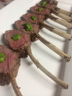 Lamb chop lollipop, mint pesto - Treeline Catering