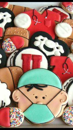 Cookies for Nurses Nurse Cookies, Iced Cookies, Cut Out Cookies, Royal Icing Cookies, Cupcake Cookies, Sugar Cookies, Birthday Cookies, Cookie Designs, Cookie Ideas