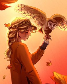 """ace-artemis-fanartist: """" A very autumn inspired Annabeth Chase. I tried thinking of a reason why she shouldn't be hanging out with one of her mom's owls, and I can't see why not. Percy Jackson Film, Percy Jackson Characters, Percy Jackson Memes, Percy Jackson Fandom, Percy Jackson Drawings, Fictional Characters, Annabeth Chase, Percy And Annabeth, Magnus Chase"""