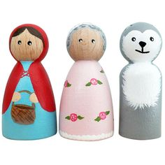 Little Red Riding Hood Trio, Peg dolls, Wooden people, Wooden dolls.