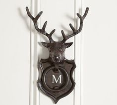 Stag Door Knocker   This stately stag brings a mountain woods feel to the home front. He's expertly crafted with tall antlers, sculptural details and a rustic finish.