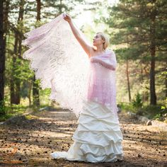 Pink bridal lace knited shawl Oversized by AnnaGalejevaHandwork