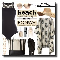 """""""ROMWE Beige Vintage Pattern Print Kimono"""" by asiyaoves ❤ liked on Polyvore featuring Seafolly, Essie, Loeffler Randall, Reef, Tory Burch, By Terry and vintage"""