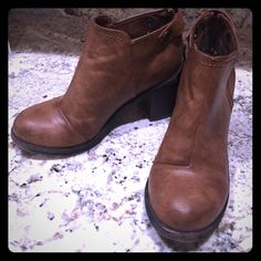 """Blowfish Malibu Boots Blowfish """"Whisky Paso Marra"""" bootie. Size 6, only worn once. 2.5"""" heel and cute zippers in back. See last pic for light scratches on one boot and also one insole sticker is askew but it does not effect the comfort. Overall in excellent condition! Blowfish Shoes Ankle Boots & Booties"""