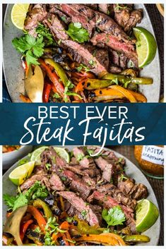 These steak fajitas are so packed full of flavor they really are the best you will ever try Easy to make this restaurant quality dish can be served as a tasty weeknight meal but it s also perfect to serve guests Cook on the grill or stovetop Best Steak Fajitas, Steak Fajita Recipe, Beef Fajitas, Leftover Steak Fajitas Recipe, Beef Fajita Marinade, Fajita Recipe Easy, Recipe For Fajitas, Slow Cooker Fajitas Steak, Mexican Steak Marinade