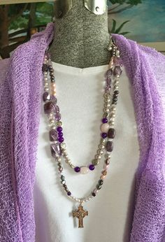 Amethyst Double Strand Necklace and by TrueBelieverJewelry on Etsy https://www.etsy.com/shop/TrueBelieverJewelry