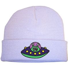 UFO Lilac Beanie Hat 90s Raver Stoner Hipster Skater Cute Alien Space... ($15) ❤ liked on Polyvore featuring accessories, hats, cotton beanie caps, beanie cap hat, hipster beanie, lilac hat and patch hat