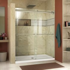 DreamLine Essence 44 to 48 in. Frameless Bypass Shower Door in Chrome Finish at Menards®: DreamLine Essence 44 to 48 in. Frameless Bypass Shower Door in Chrome Finish Frameless Sliding Shower Doors, Sliding Doors, Dreamline Shower, Shower Enclosure, Tub Enclosures, Shower Stalls, Glass Shower, Shower Base, Bathroom Wall