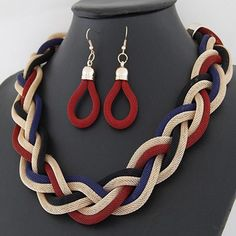 Multi Color Twisted Necklace and Earrings on sale only US$9.02 now, buy cheap Multi Color Twisted Necklace and Earrings at liligal.com