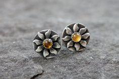 Sunshine Post Earrings  Citrine  Sterling Silver  Post by lissa73