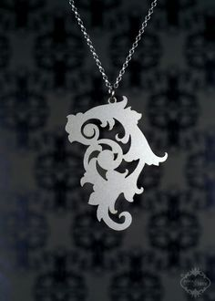 Ornate Neo Baroque necklace in silver stainless steel - filigree large pendant jewelry. $26.00, via Etsy.