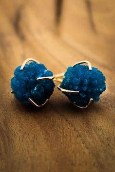 Cavancite Prong Set Gold Earrings